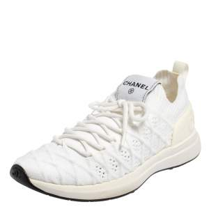 Chanel White Knit Fabric Lace Up Sneakers Size 37