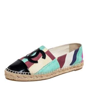 Chanel Multicolor Patent Leather And Canvas Cap Toe CC Espadrille Flats Size 40