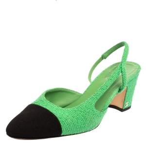 Chanel Green/Black Fabric Cap Toe Slingback  Sandals Size 41