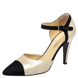Chanel Beige/Black Leather Pointed Cap Toe Ankle Strap Pumps Size 41