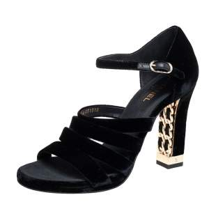 Chanel Black Velvet Ankle Strap Sandals Size 38.5