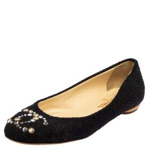 Chanel Black Canvas Crystal Embellished Ballet Flats Size 39