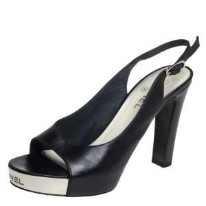 Chanel Black Leather CC Peep Toe Platform Slingback Sandals Size 38.5