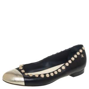 Chanel Black Leather Silver Cap Toe Camellia Studded Ballet Flats Size 39