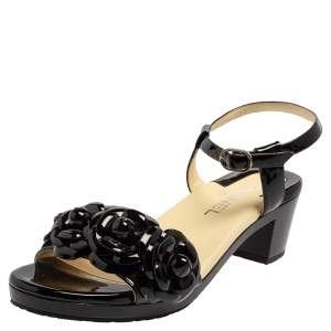Chanel Black Patent Leather Camellia Ankle Strap Sandals Size 38.5