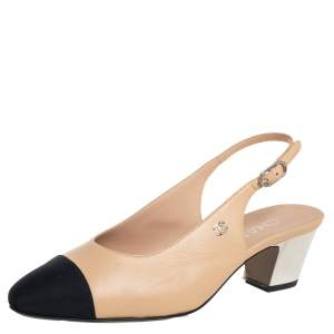 Chanel Beige/Black Leather And Fabric CC Cap Toe Slingback Sandals Size 36.5