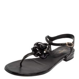 Chanel Black Leather Interlocking CC Camellia T-Strap Sandal Size 39