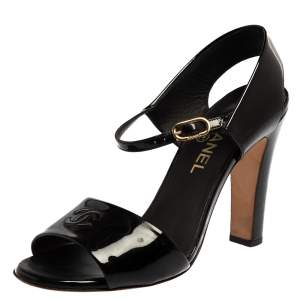 Chanel Black Patent Leather CC Ankle Strap Sandals Size 39.5