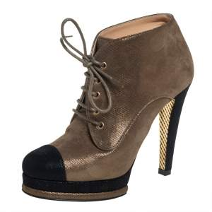 Chanel Olive Green/Black Glitter Suede Cap Toe Lace Up Booties Size 37.5