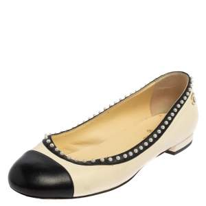 Chanel Cream/Black Leather CC Pearl Cap Toe Ballet Flats Size 38