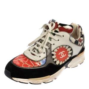 Chanel Multicolor Leather And Suede Graffiti Sneakers Size 40