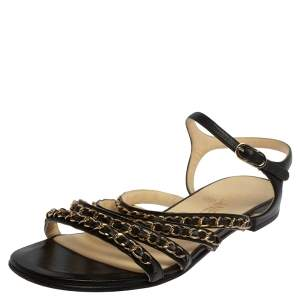Chanel Black Leather CC Chain Link Strap Sandals Size 39.5