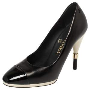 Chanel Black Leather And Patent Leather CC Cap Toe Pumps Size 35.5