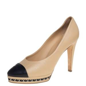 Chanel Beige Leather Cap Toe Chain Platform Pumps Size 39.5