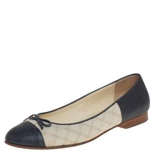 Chanel Beige/Grey Canvas And Leather Cap Toe Ballet Flats Size 37.5
