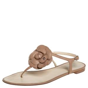 Chanel Brown Leather CC Camellia Thong Slingback Flat Sandals Size 40