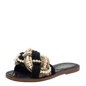 Chanel Two Tone Jute And Cotton Blend Pearl Slide Sandals Size 39