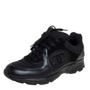 Chanel Black Mesh And Leather CC Low Top Sneakers Size 37.5