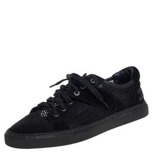 Chanel Black Mesh and Suede CC Lace Up Kicks Tennis 3 Sneakers Size 39
