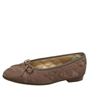 Chanel Brown Quilted Nubuck Leather CC Bow Ballet Flats Size 38