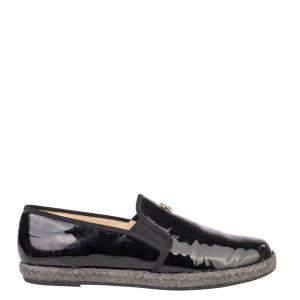 Chanel Black Patent Loafer CC Espadrille Moccasins Size EU 40.5