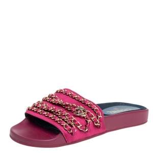 Chanel Pink Satin Tropiconic Chain Link Slide Size 40