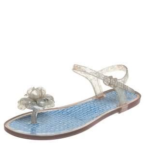 Chanel Blue Rubber Camellia Sandals Size 38