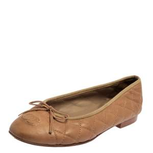 Chanel Beige Quilted Leather CC Bow Ballet Flats Size 36.5