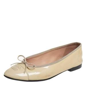 Chanel Beige Patent Leather CC Bow Ballet Flats Size 40