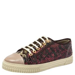 Chanel Multicolor Python And Leather Cap Toe Low Top Sneakers Size 40
