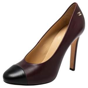 حذاء كعب عالي شانيل جلد بني / أسود بمقدمة مستديرة مقاس 38.5