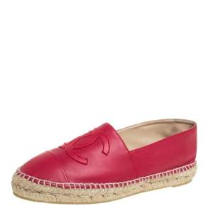 Chanel Red  Leather Cap Toe Espadrille Flats Size 41