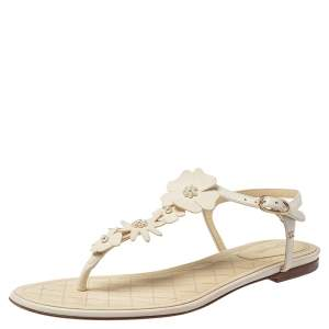 Chanel White Leather Camellia Accent T-Strap Sandals Size 41