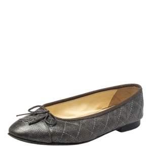 حذاء فلات باليه شانيل جلد مبطن رمادي مقاس 36.5