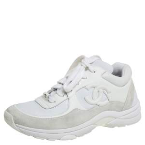 Chanel White Leather And Neoprene CC Low Top Sneakers Size 37.5