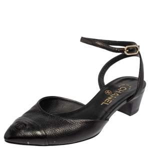 Chanel Black Leather Cap Toe D'orsay Sandals Size 37