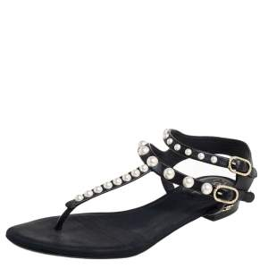 Chanel Black Leather  Faux Pearl Thong Sandals Size 38