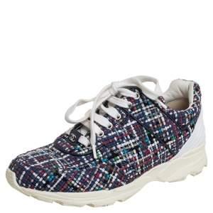 Chanel Multicolor Tweed Low Top Sneakers Size 39