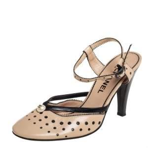 Chanel Vintage Beige Perforated Leather CC Pearl Embellished Slingback Sandals Size 38