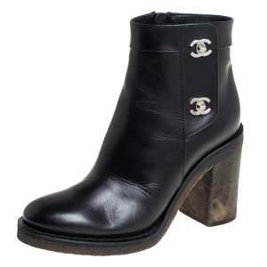 Chanel Black Leather CC Turnlock Ankle Boots Size 37.5