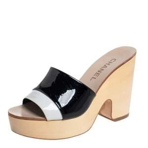 Chanel Black/White Patent Leather Platform Slide Sandals Size 37