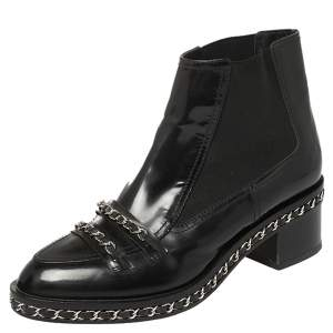 Chanel Black Patent Leather and Fabric Chain Embellished Ankle Boots Size 40
