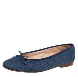 حذاء فلات باليه شانيل جلد مبطن أزرق مقاس 39