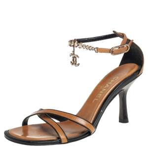 Chanel Beige/Black Leather CC Embellished Ankle Strap Sandals Size 38.5