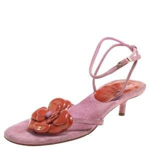 Chanel Pink/Brown Suede And Patent Leather Camellia Ankle Strap Sandals Size 38