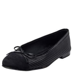 حذاء فلات باليه شانيل غطاء مقدمة سي سي جلد وجلد لامع أسود مقاس 38.5
