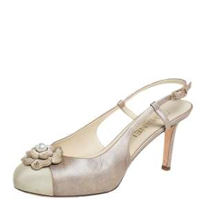 Chanel Grey Leather And Canvas  Camellia Embellished Slingback Sandals Size 38.5
