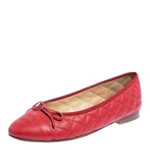 Chanel Red Quilted Caviar Leather CC Bow Ballet Flats Size 39