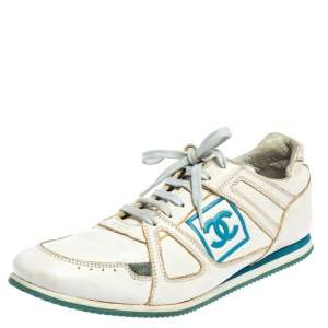 Chanel White Leather Lace Up  Sneakers Size 39