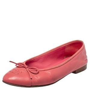 Chanel Pink Leather CC Ballet Flats Size 38